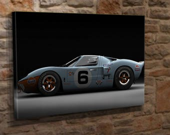 Extra Large Ford GT 40 1969 Canvas Wall Art Print Picture