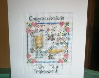 Engagement X-stitched  A5 Card. Left blank inside for own message. Cross stitched by myself using DMC thread and 14 count Aida Fabric
