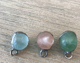 African glass soldered pendant-charm-diy-jewelry supplies-boho charms-seaglass-beachy jewelry