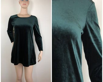 Vintage Womens 1990s Dark Green Velvet Long Sleeve Mini Shift Dress or Tunic | Size M