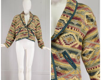 Vintage Womens 1980s Earthy Colors Southwestern Pattern Shawl Collar Short Cotton Woven Jacket | Size S/M