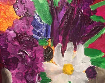 Tiger Lily bouquet-acrylic on thin canvas