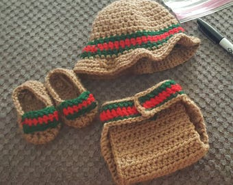 Gucci look alike shoes diaper cover and hat