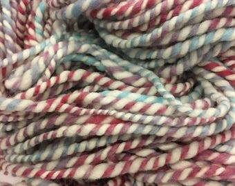 Blue, violet, pink, and white wool yarn