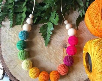Natural wood lactation necklace and knitting tricot Dégradé