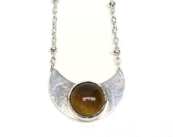 Sterling Silver Moon Necklace with Tigers Eye and Dotted Chain.  FREE US Standard Shipping.