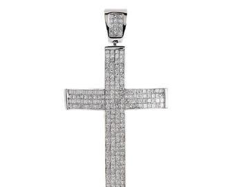 6.00 Carat Invisible Set Princess Diamond Cross Pendant 14K White Gold