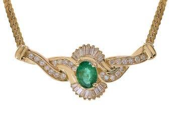 1.45 Carat Oval Emerald & 1.00 Carat Diamond Necklace 14K Yellow Gold