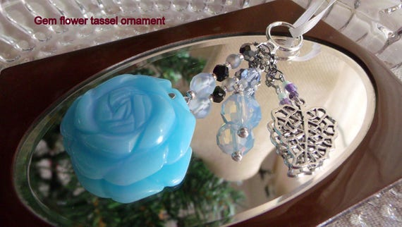 Light blue rose ornament - gem flower - leaf charm -  garden cottage decor - window - tassel tree ornament - spring gift - Lizporiginals