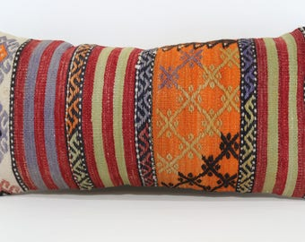 12x24 Turkish Kilim Pillow Handwoven Kilim Pillow 12x24 Vintage Handwoven Kilim Pillow Boho Pillow Cushion Cover SP3060-917