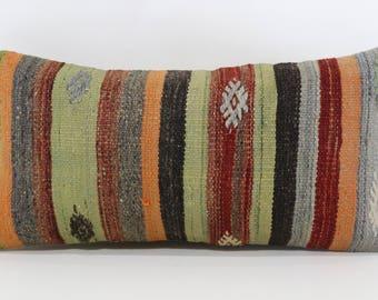 12x24 Handwoven Kilim Pillow Boho Pillow Cushion Cover 12x24 Turkish Kilim Pillow Throw Pillow Decorative Kilim Pillow SP3060-982