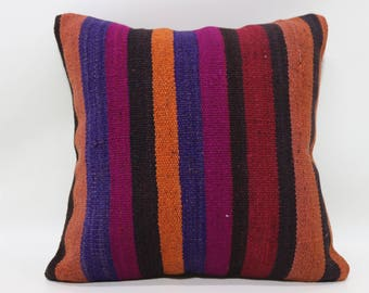 18x18 Striped Kilim Pillow Boho Pillow Sofa Pillow 18x18 Multicolor Kilim Pillow Floor Pillow Handwoven Kilim Pillow Cushion Cover   SP4545