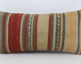 Decorative Kilim Pillow Anatolian Kilim Pillow Throw Pillow 12x24 Turkish Kilim Pillow Boho Pillow Lumbar Cushion Cover  SP3060-1019