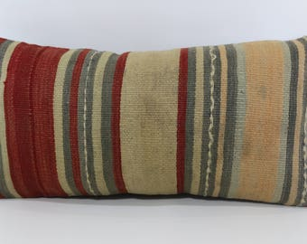 12x24 Bohemian Kilim Pillow Ethnic Pillow 12x24 Decorative Kilim Pillow Striped  Turkish Kilm Pillow Sofa Pillow Cushion Cover SP3060-1116