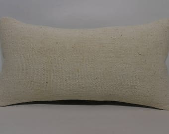 bohemian kilim pillow sofa pillow ethnic pillow 10x20 naturel kilim pillow white kilim pillow sofa pillow lumbar cushion cover SP2550-1365