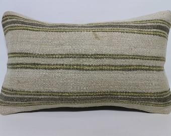 Naturel Kilim Pillow Throw Pillow Sofa Pillow 12x20 Decorative Kilim Pillow Ethnic Pillow Handwoven Kilim Pillow Cushion Cover   SP3050-1586