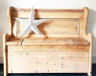 Vintage FARMHOUSE reclaimed Pine Bench Settle
