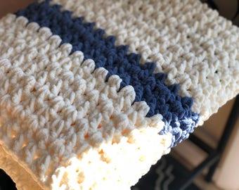Baby throw, afghan, crochet blanket, crochet throw, crochet afghan, baby blanket, blue blanket, white blanket, toddler blanket