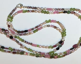 Opera Length Necklace with Rose Qtz, Peridot, Pearls and More