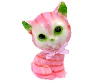 Vintage 70s Pink Kitten Kitty Cat Ceramic Figurine Kitsch Knick Knack Retro 1970s Japan Classic Green Ears Pink Bow Black Eyes Kawaii