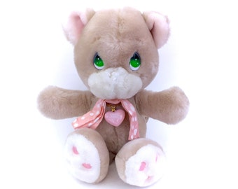 Vintage Precious Moments Cubby Bear Cub COMPLETE w/ Necklace Charm & Original Bow Plus Soft Stuffed Doll Toy Applause Tag 80s Retro  Rare