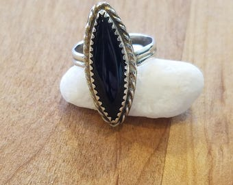 Black Onyx and Sterling Silver Ring SZ 6.5