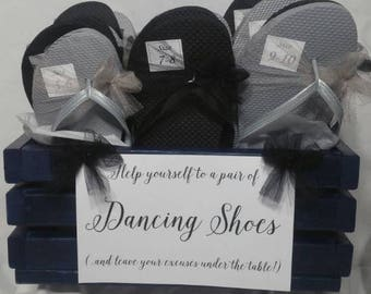 Flip Flops - 15 Shoe tags, sign and hand made crate or basket for wedding dancing shoes