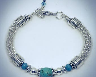 """Sterling Silver Viking Knit Bracelet with Turquoise """"Dyed"""" Magnesite Beads"""