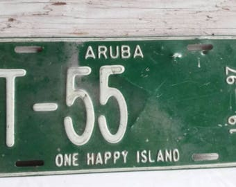 Vintage 1997 Aruba,  One HAPPY Island License Plate.  T-55.  No Rust Through. Nicely used condition.  Great collectible piece.