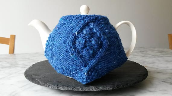 Blue teacozy: handknit wool teacosy; Irish wool. Original design. Made in Ireland. Housewarming gift. Gift for colleague. Aran knit tea cozy