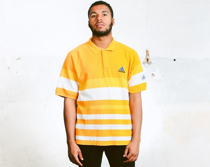 Vintage Adidas Polo Shirt . 80s Summer Outdoors Mens Yellow T-Shirt Unisex Adidas Tee Shirt Retro 80s Tee Shirt Gift For Man . size Large L