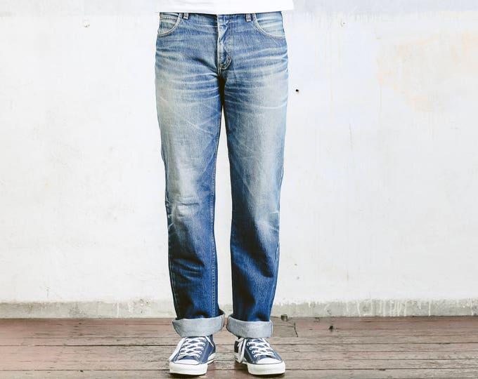 Vintage 90s Lee Jeans . Vintage Denim Pants Mens Tappered Leg Jeans Medium Wash Blue Faded Jeans Retro 90s Jeans Oldschool Pants . Large L