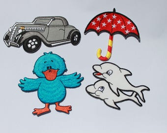 Iron on Patch - Blue Bird, Umbrella, Car and Dolphins