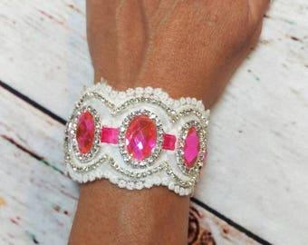 Hot pink rhinestone cuff bracelet