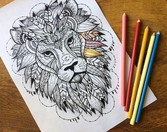 Adult colouring page, lion pattern coloring page instant digital download, advanced adult colouring page animal art digital colouring page