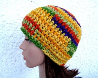 Crochet beanie, handspun beanie, hat, crochet hat, beanie, chunky beanie, wool hat, fall hat, winter hat, yellow, orange, green,22 inch,55cm