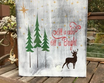 All is Calm Christmas wood Sign,Holiday wood art,Hanging Wood Reindeer Sign,Rustic Christmas wood Decor,Gallery wall art,Christmas decor