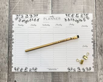 Weekly Planner - A4 planner - daily organiser - weekly agenda - planner notepad - desk pad - desk planner