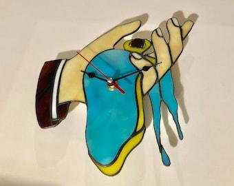 Dali / Stain Glass Suncatcher / Stain Glass Wall Hanging / Clock Art / Stain Glass Art / Clock Wall Decor