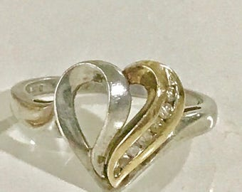 10k Gold with 925 Silver Diamond Ring Vintage Heart Ring Size 7 Anniversary Ring Genuine Diamonds .18 CTW Estate Jewelry
