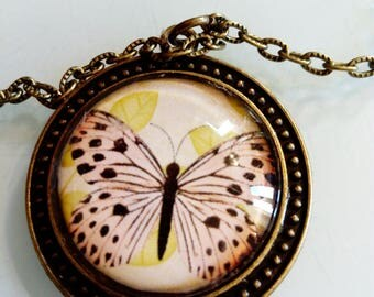 Vintage butterfly, ethnic bronze chain pendant necklace