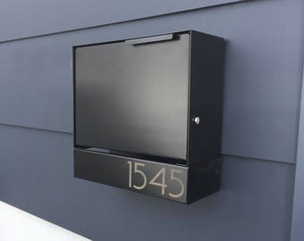 Black Modern mailbox -design, Modern Mailbox medium, Wall Mounted mailbox, MODERN  house - lock #SB1111b