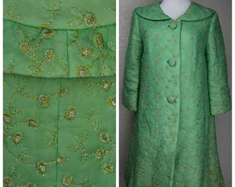 Clearance *** Amazing Seafoam and Gold Quilted Housecoat