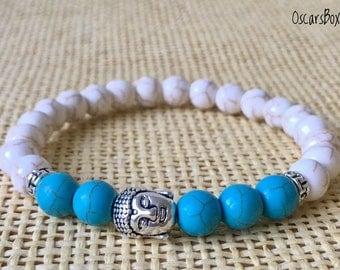 White Howlite Bracelet   Turquoise bracelet   Women Bracelet   Women Jewelry   8mm Bracelet   Buddha bracelet   8mm HOWLITE   8mm Turquoise