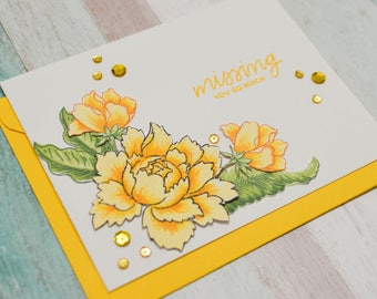 Peonies - Missing You So Much - Friendship Card