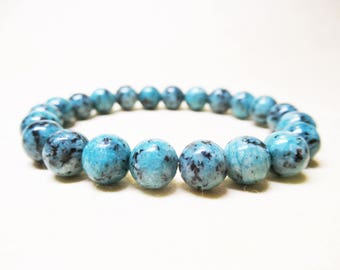 Blue African Turquoise Bracelet African Turquoise Bracelet Mens Bracelet Gemstone Beaded Stretchy Bracelet Womens Bracelet Mala Bracelet