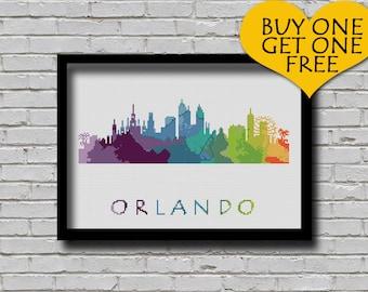 Cross Stitch Pattern Orlando Florida City Silhouette Watercolor Effect Decor Modern Embroidery Usa City Skyline Art xstitch Diy Chart