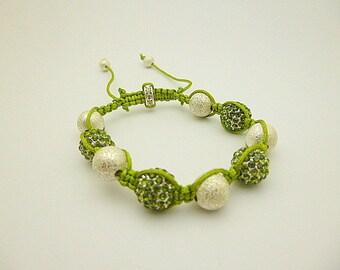 Shamballa green rhinestones and metal beads