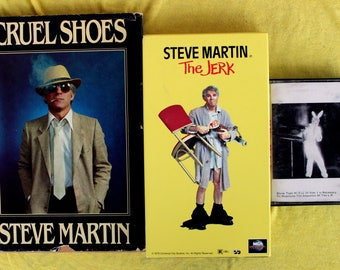 STEVE MARTIN Vintage Combo Gift Pack! Hardcover book, Comedy Cassette Tape, and The Jerk VHS! Cruel Shoes