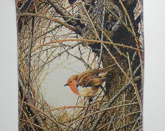 Gobelin Tapestry ROBIN In The BRANCHES 15.5x13 In 40x36 cm Wall Hanging Fabric